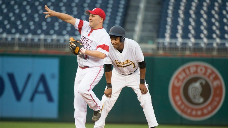 Reps. Steve Scalise (R-LA), and Cedric Richmond (D-LA) at the Congressional Baseball Game in 2016. Scalise is currently in critical condition after a gunman shot at Republican players practicing together Wednesday morning. (Photo: Tom Williams/CQ Roll Call/Getty Images)