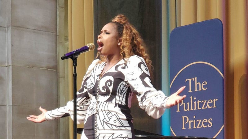 "Singer Jennifer Hudson performing ""Amazing Grace"" at the 2019 Pulitzer Prize ceremony in New York City."