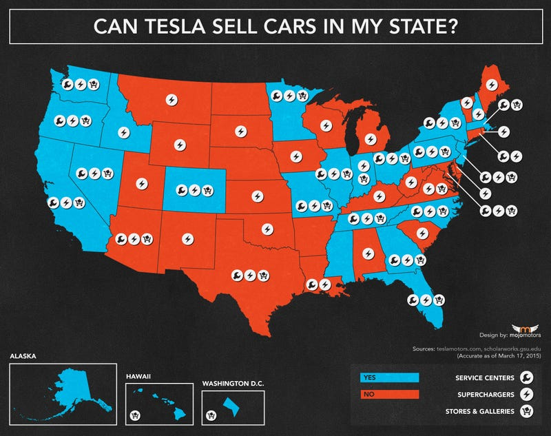 Illustration for article titled Where Can Tesla Sell Cars? [Updated Map]