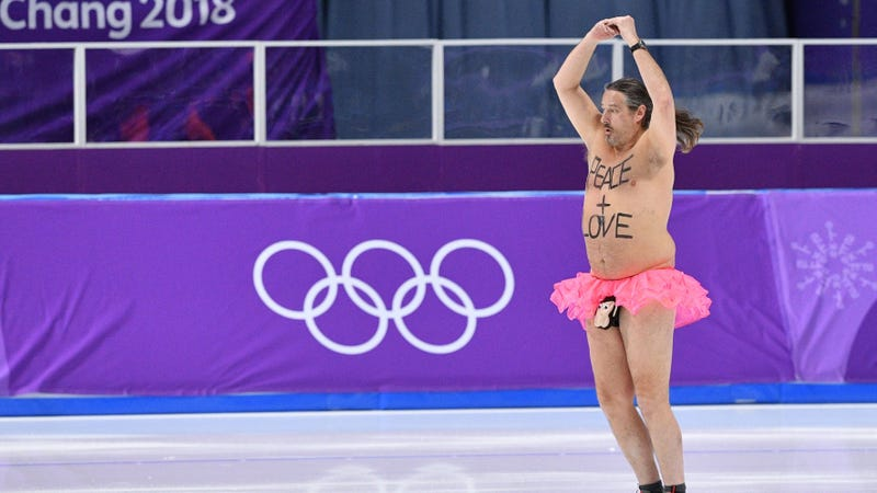 Illustration for article titled Olympic streaker attempts to spread message about peace, love, monkey-faced dick pouches
