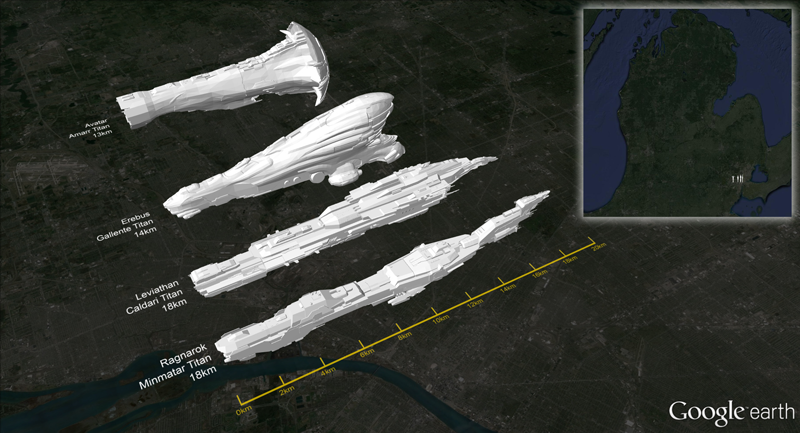 Illustration for article titled Eve Online Ships, Compared To The Real World