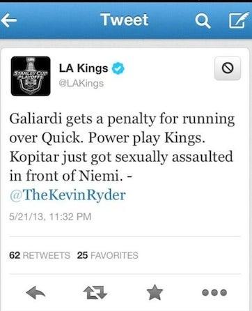 Illustration for article titled LA Kings Tweet Out Rape Joke [UPDATE]