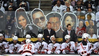 Illustration for article titled The L.A. Kings Taunted The Devils With Giant Jersey Shore Cutouts Yesterday