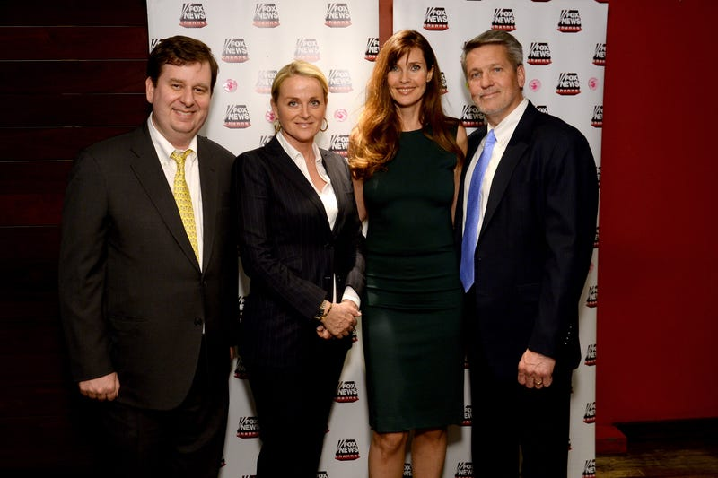 John Finley of Fox News, Senior Vice President, Programming & Development, Fox News Suzanne Scott, Model Carol Alt and Executive Vice President of Programming of FOX News Bill Shine attends the 'A Healthy You & Carol Alt' party at Pure Food and Wine on April 7, 2014 in New York City.