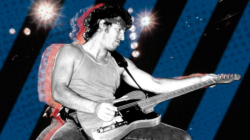 Bruce Springsteen in 1985. (Photo: Richard E. Aaron/Redferns/Getty Images. Graphic: Marcus Nuccio.)