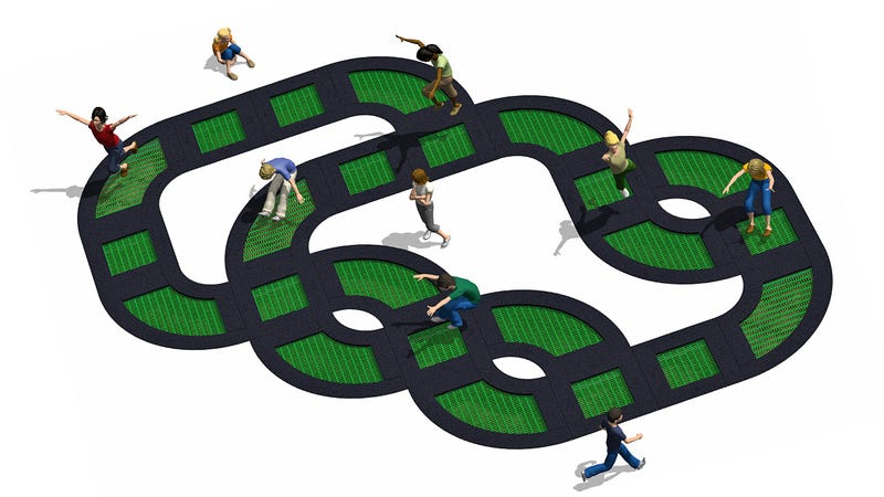 Illustration for article titled This Modular Trampoline Looks Like the Most Fun Way to Break Your Neck