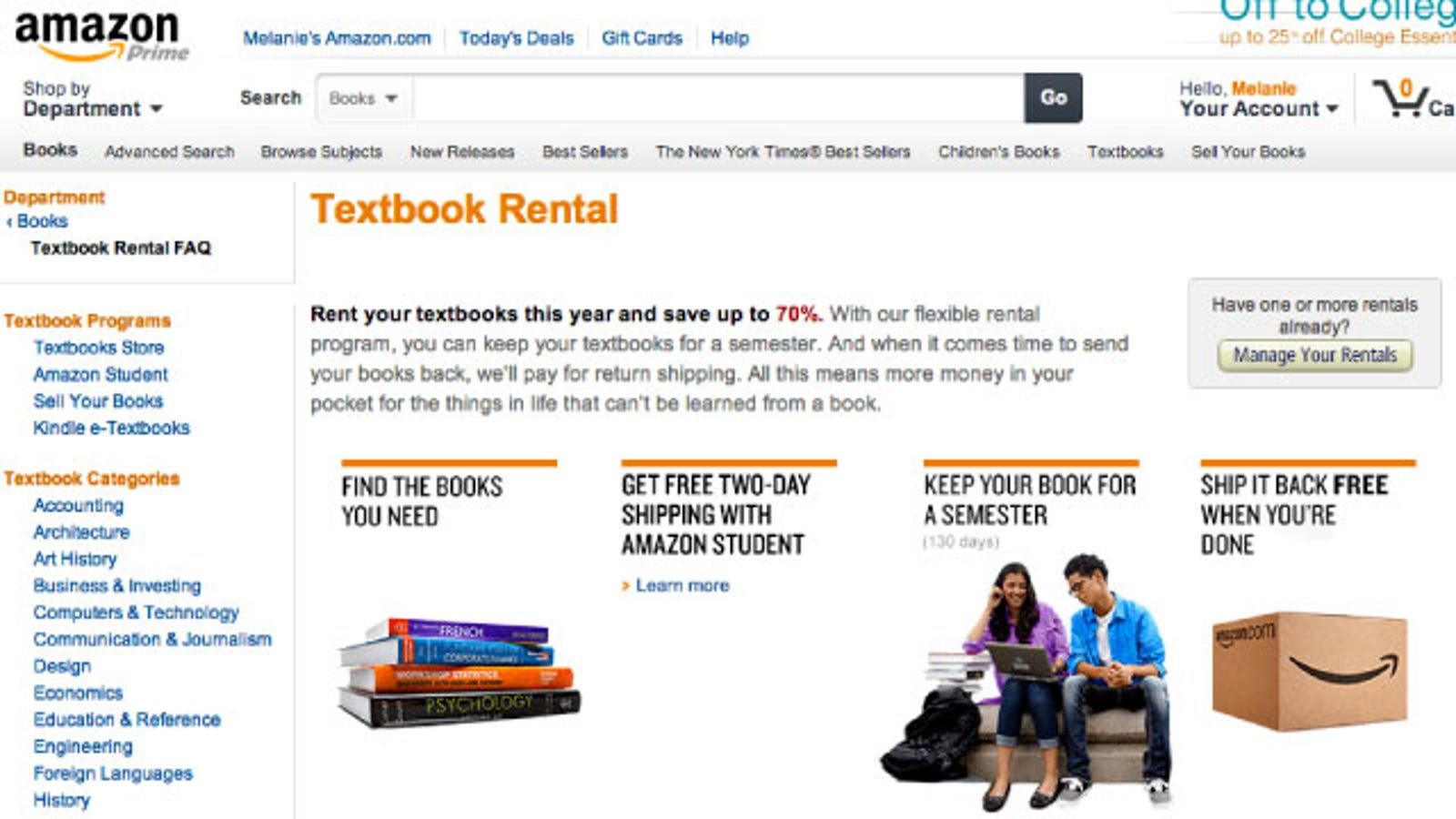 amazon textbook rental account