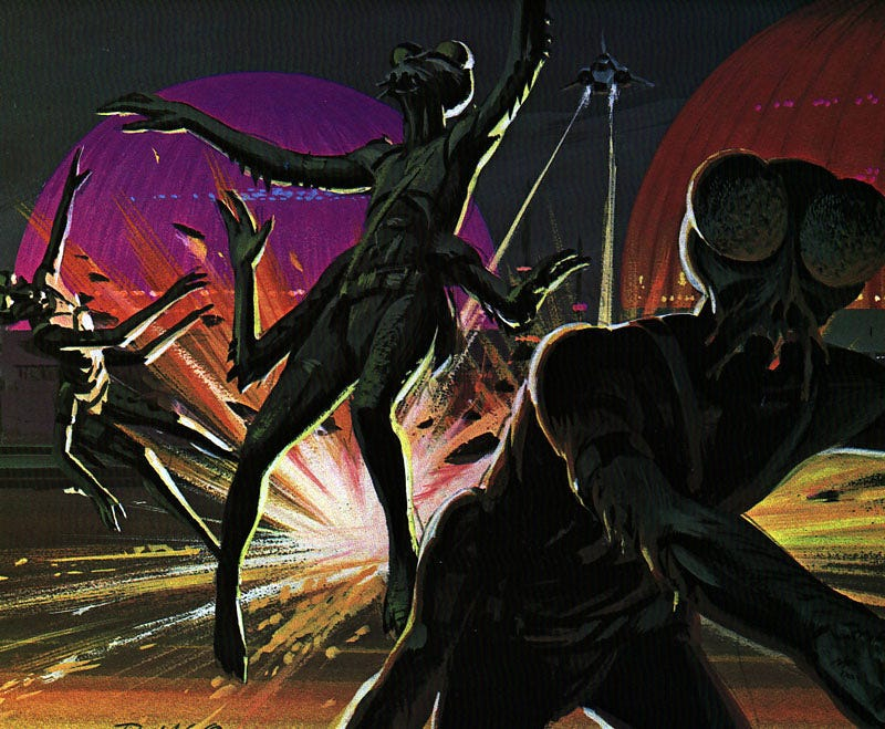 Illustration for article titled Original Battlestar Concept Paintings for Cylons, Ships, and Bug People