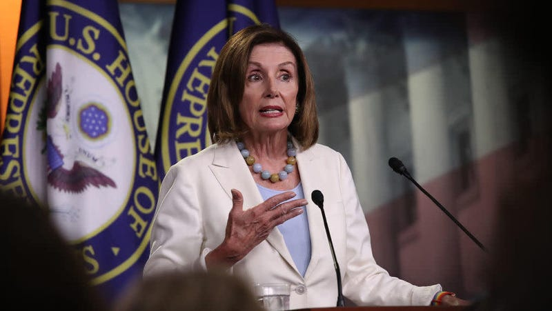 House Speaker Nancy Pelosi answers reporters questions July 17, 2019, including those regarding the articles of impeachment raised by Rep. Al Green (D-Texas).