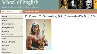 Illustration for article titled Pranksters add Conan the Barbarian to the faculty of Irish college