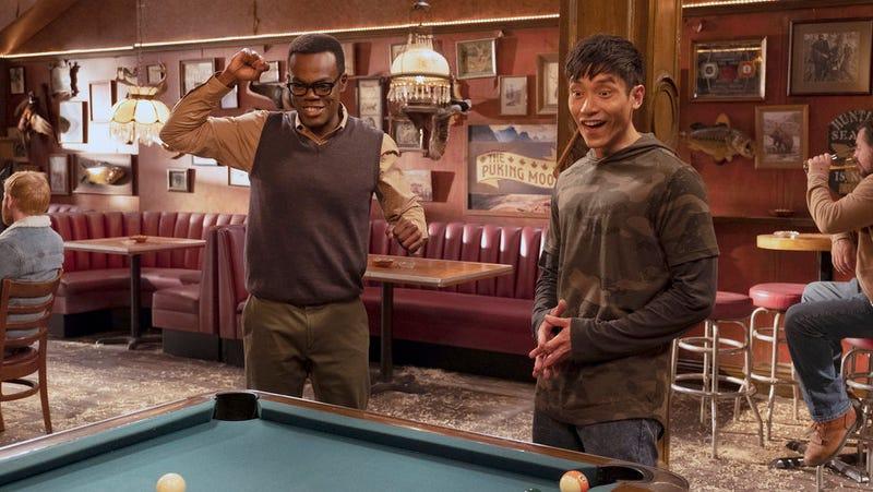 "Chidi (William Jackson Harper) and Jason (Manny Jacinto) playing ""Jacksonville rules"" pool."
