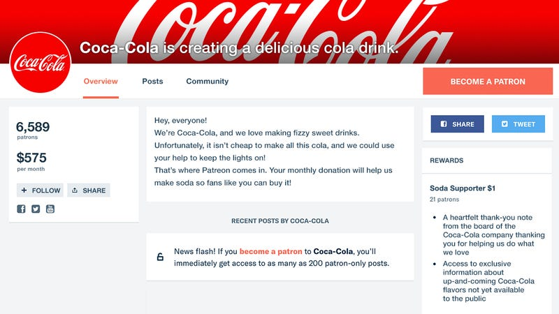 Illustration for article titled Supporting Its Passion: Coca-Cola Is Launching A Patreon To Crowdfund Its Soda Business