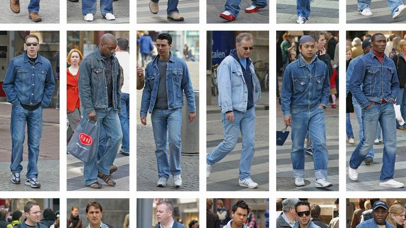 A page from People Of The Twenty-First Century creates a denim parade from pedestrians photographed on one 2005 afternoon in Amsterdam. (Photo: Hans Eijkelbloom/Phaidon)