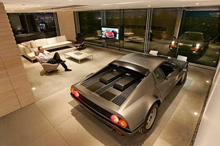 Not long ago  a Los Angeles man built an award winning bridge to his living  room so he could keep his 1984 Ferrari 512 BBi within spitting distance of  his  L A  Ferrari Owner Builds Dream Garage  Whiny Neighbors Wake Him Up. Garage Living Room. Home Design Ideas