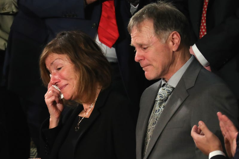 Parents of Otto Warmbier, Fred and Cindy Warmbier are acknowledged during the State of the Union address in the chamber of the U.S. House of Representatives January 30, 2018 in Washington, DC. This is the first State of the Union address given by U.S. President Donald Trump and his second joint-session address to Congress.