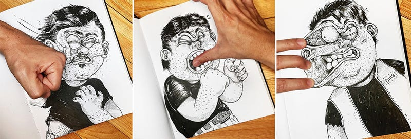 Illustration for article titled Fun illustrations of a cartoon fighting his creator
