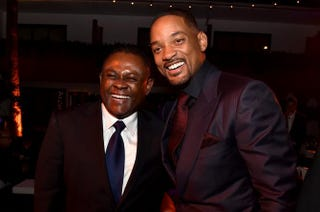 Dr. Bennet Omalu and actor Will Smith attend the after-party for a gala premiere of Concussion during the AFI Fest on Nov. 10, 2015, in Hollywood, Calif.Kevin Winter/Getty Images