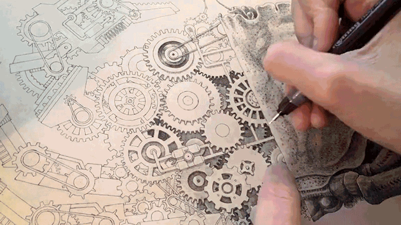 This Artist Drawing an Incredibly Detailed Mechanical Crab Is Like a Human Printer