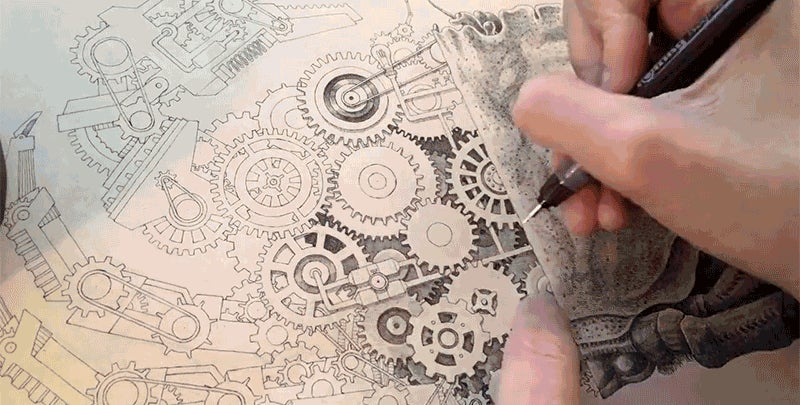 This Artist Drawing An Incredibly Detailed Mechanical Crab