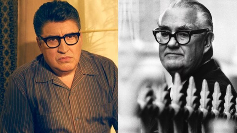 Alfred Molina as Robert Aldrich on FX's Feud (Photo: Kurt Iswarienko/FX) and the real Aldrich in 1978 (Photo: Hulton-Deutsch Collection/CORBIS/Corbis via Getty Images)