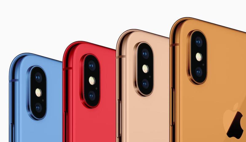 Imagen de cómo se verían los iPhones de colores.