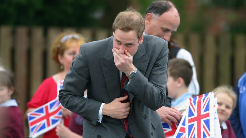 Prince William of the UK, displaying bad sneezing form.