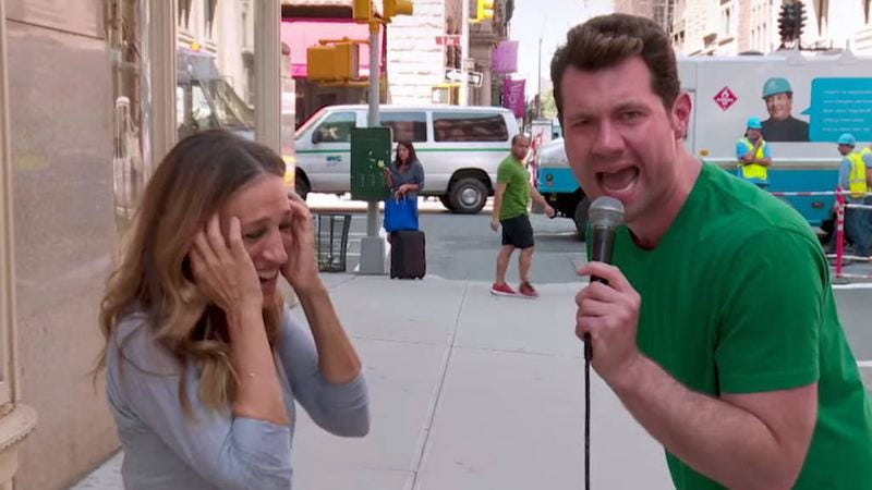 Eichner showing off his pipes with Sarah Jessica Parker on Billy On The Street.