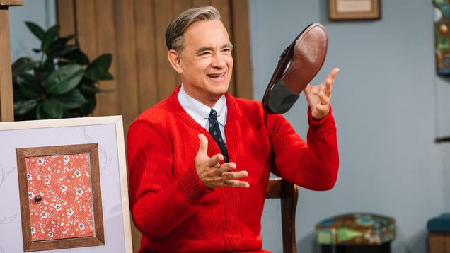 Tom Hanks channels the essential goodness of Mr. Rogers in A Beautiful Day In The Neighborhood