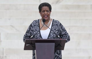 Myrlie Evers-Williams at the Let Freedom Ring Commemoration and Call to Action at the Lincoln Memorial in Washington, D.C., Aug. 28, 2013SAUL LOEB/AFP/Getty Images