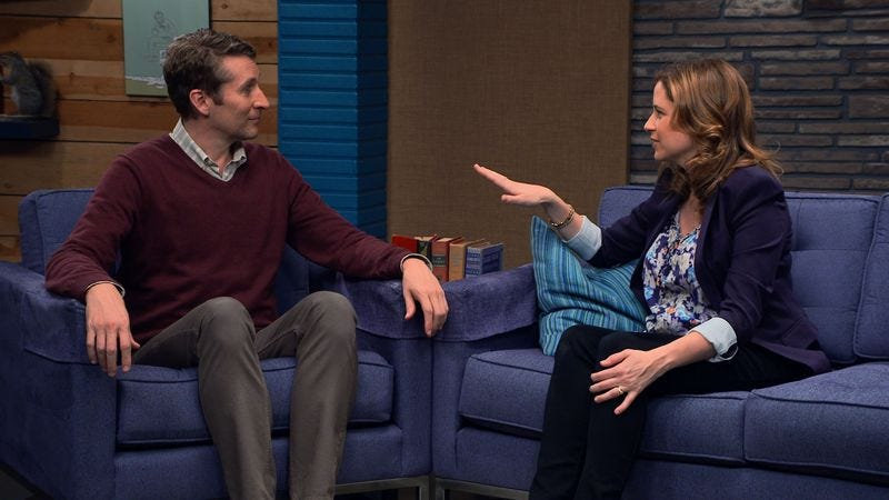 Scott Aukerman and Jenna Fischer