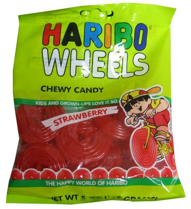 Illustration for article titled Today's Gummi: Haribo Wheels (Strawberry)