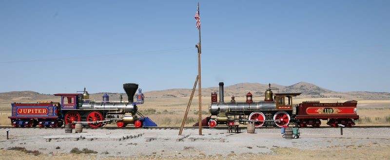 Illustration for article titled Today the Transcontinental Railroad was completed