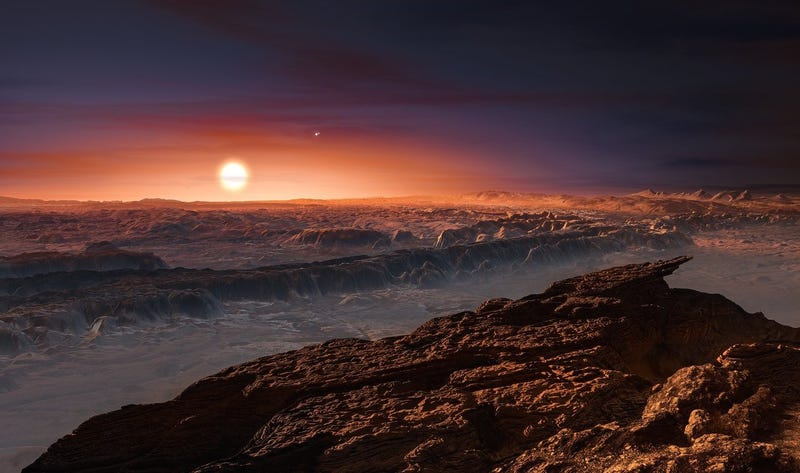 Artist's rendition of the surface of Proxima b, our nearest neighboring exoplanet. Image: ESO/M. Kornmesser