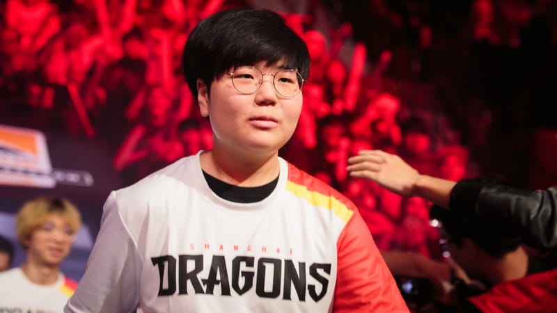 Geguri, one of the Dragons' newest players, walking on stage last night.