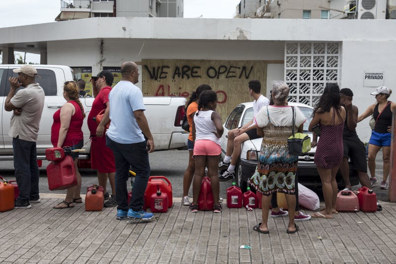 Residents in San Juan, Puerto Rico, line up for gasoline days after Hurricane Maria made landfall. (Alex Wroblewski/Getty Images)