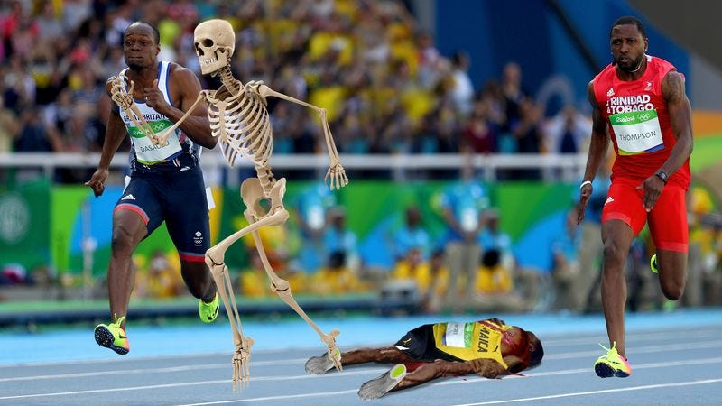 Illustration for article titled Olympic Setback: Usain Bolt's Skeleton Sprinted Out Of His Skin In The Middle Of A Race And Disappeared Screaming Into The Rainforest