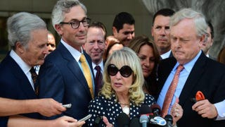 Shelly Sterling meets with the media outside the courthouse in Los Angeles on July 28, 2014, after a California judge gave the go-ahead to the $2 billion sale of the Los Angeles Clippers to former Microsoft chief executive Steve Ballmer, ruling that embattled owner Donald Sterling could not block the move. FREDERIC J. BROWN/AFP/Getty Images
