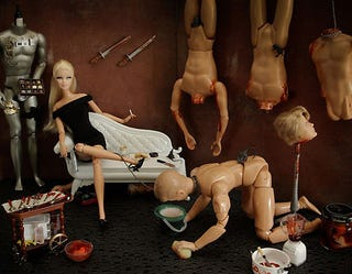 """Illustration for article titled """"Bad Barbie"""" Stars In Bloody Photoshoot"""