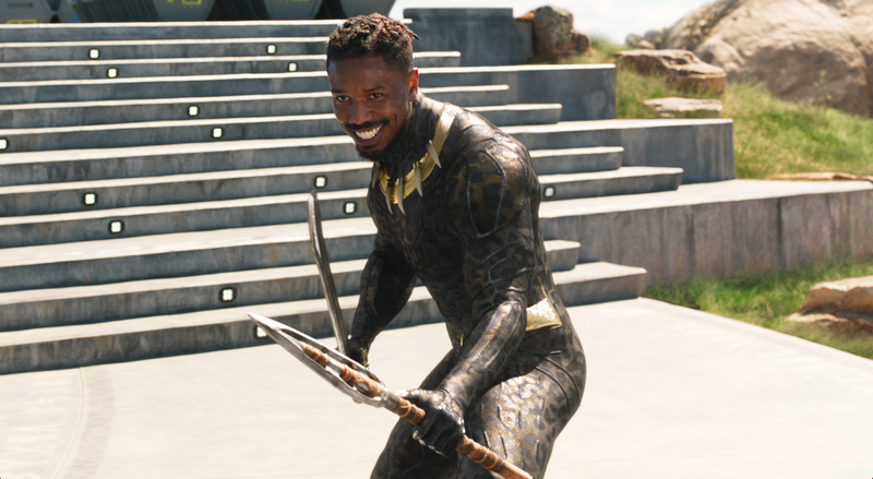 Michael B. Jordan as Erik Killmonger in Black Panther.