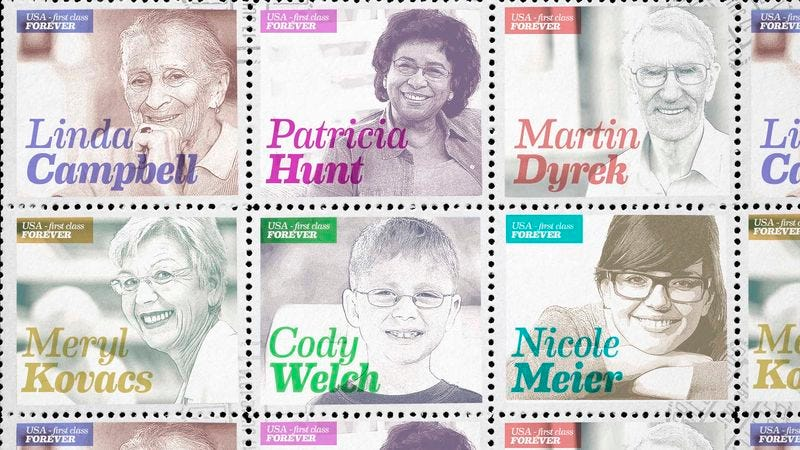 Illustration for article titled Postal Service Unveils New Line Of Stamps Honoring Americans Who Still Use Postal Service