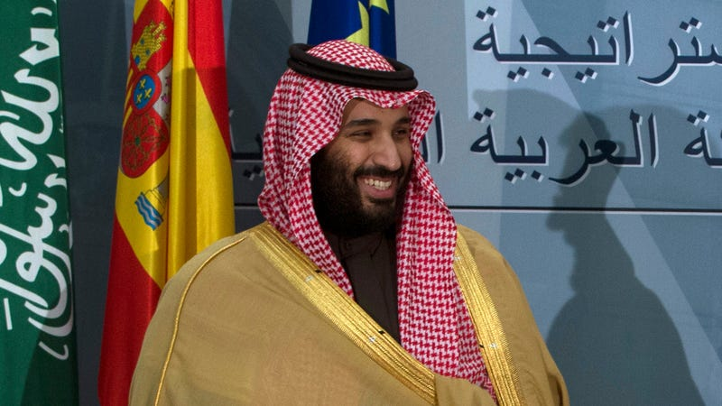 Crown Prince Mohammed bin Salman at a signing ceremony in Madrid.