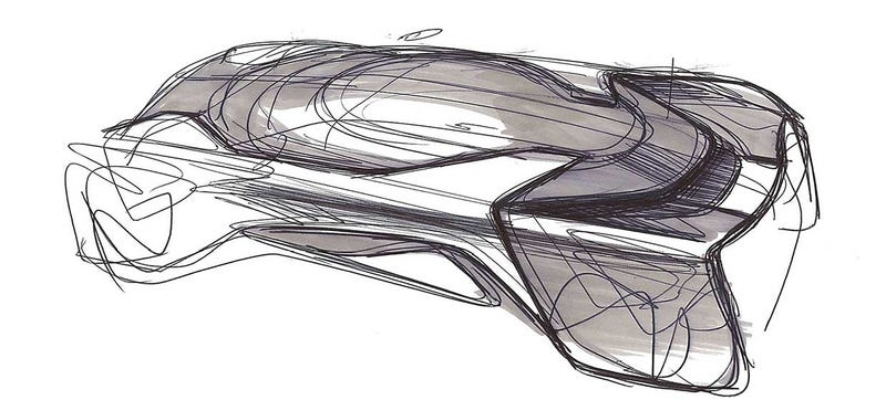 FF's first disappointing delay, the FFZero1 concept car that debuted at this past CES. Sketch credit: FF