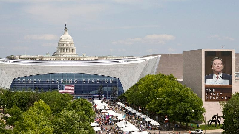 Illustration for article titled Massive Waste: The 60,000-Seat Stadium Washington, D.C. Built To Host The James Comey Hearing Cost Over $1.4 Billion