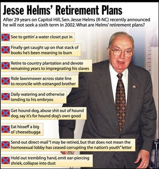 After 29 years on Capitol Hill, Sen. Jesse Helms (R-NC) recently announced he will not seek a sixth term in 2002. What are Helm's retirement plans?