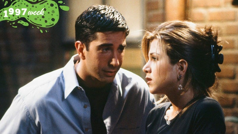 Ross and Rachel in season one (Photo: Alice S. Hall/NBC/NBCU Photo Bank via Getty Images; graphic: Natalie Peeples.)