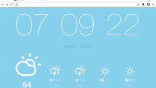 Illustration for article titled Currently Replaces Chrome's New Tab Page with a Minimalist Weather and Time Display