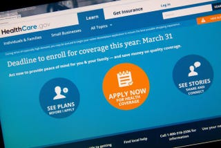 This image taken March 31, 2014, in Washington, D.C., shows the home page for HealthCare.gov.KAREN BLEIER/AFP/Getty Images