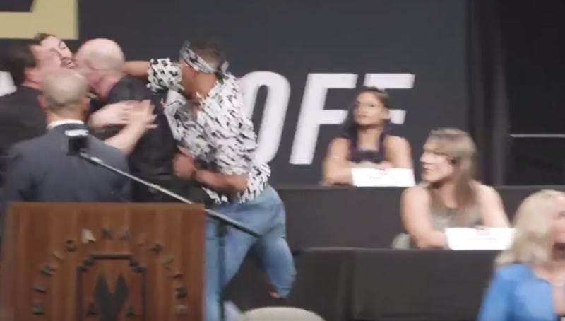 Michael Chiesa, Kevin Lee brawl on stage at UFC 'Summer Kickoff' presser