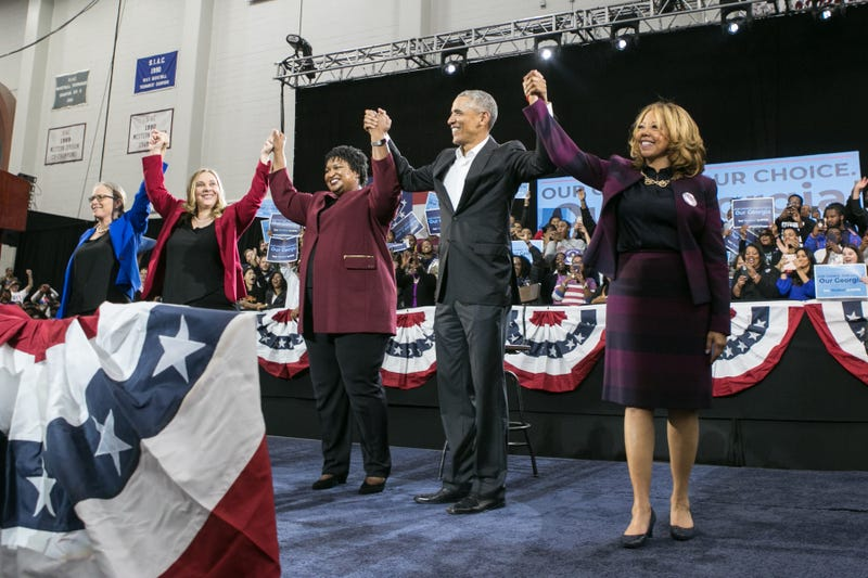 Former President Barack Obama stands with Georgia Democratic candidates (left to right) Carolyn Bourdeaux for CD-07, Sarah Riggs Amico for Lieutenant Governor, Stacey Abrams for Governor and Lucy McBath for CD-06 during a campaign rally at Morehouse College on November 2, 2018 in Atlanta, Georgia. Obama spoke in Atlanta to endorse Abrams and encourage Georgians to vote.