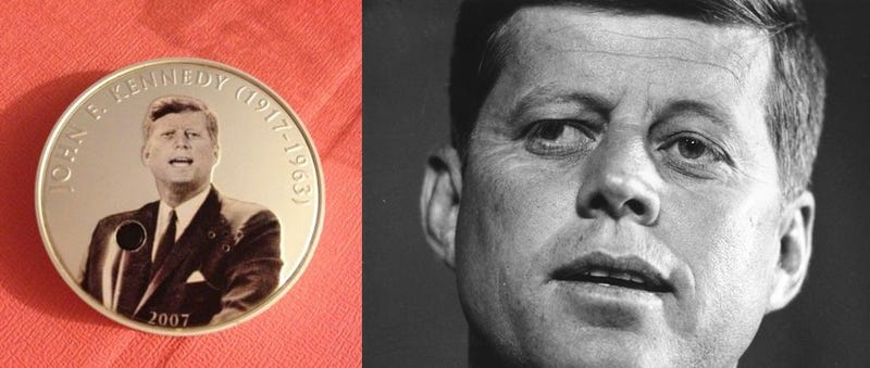 "Illustration for article titled In 2007, Mongolia issued a coin featuring JFK that plays a soundbite from his ""Ich bin ein Berliner"" speech"